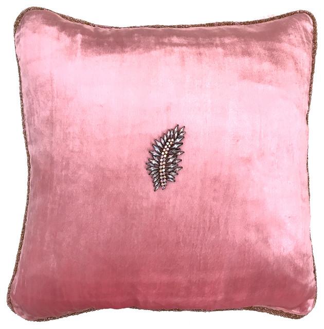 Hand Beaded Pink Velvet Pillow, Removable Crystal Brooch-Pin, Sparklingleaf