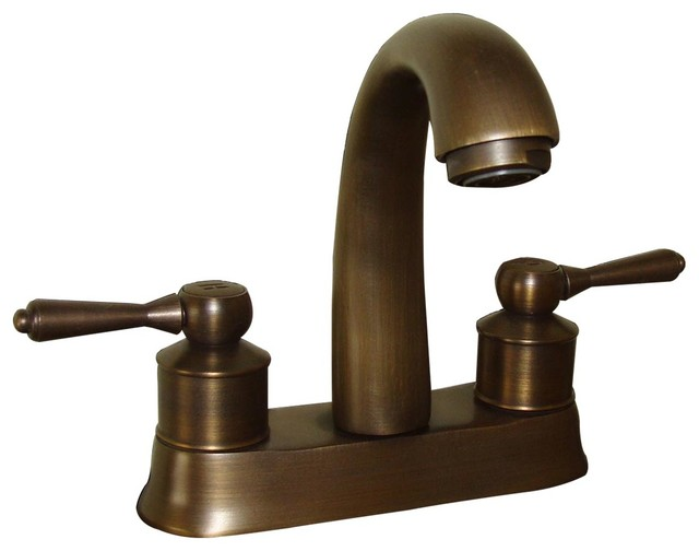 Classic Antique Brass Centerset Sink Faucet With 2 Lever Eclectic Bathroom Sink Faucets By Renovator S Supply Houzz
