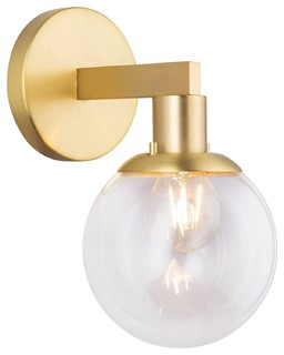 Sferra Wall Sconce with Bulb, Brushed Brass