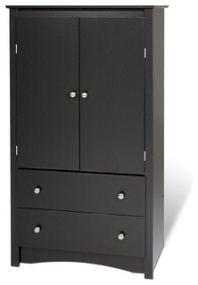Prepac Sonoma 2 Drawer Armoire (Color: Black)