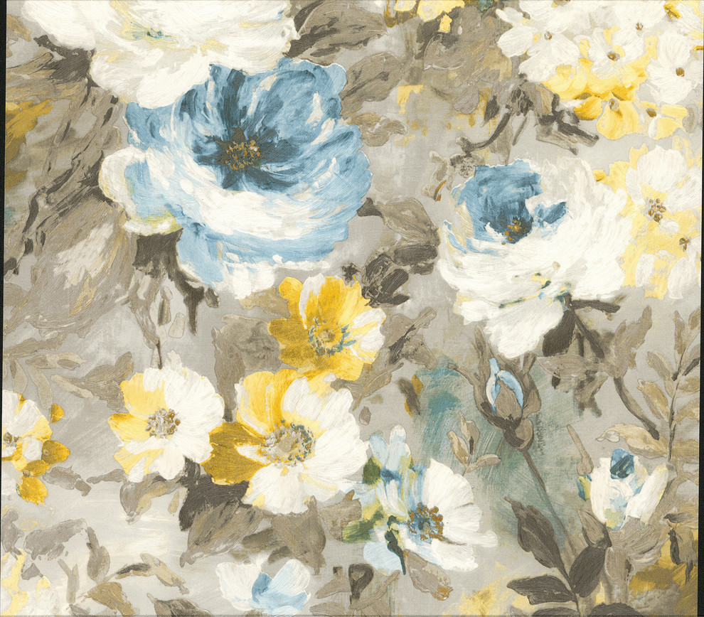 Macau Blue Painterly Floral Wallpaper Contemporary Wallpaper