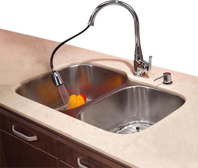 ... Undermount Double Bowl Kitchen Sink, Chrome contemporary-kitchen-sinks