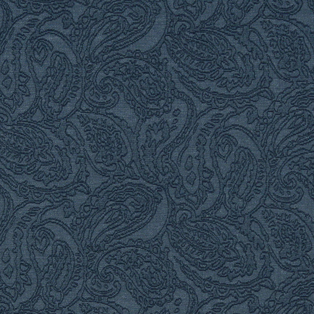 Blue Traditional Paisley Woven Matelasse Upholstery Grade Fabric By