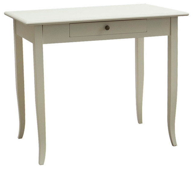 Wooden Writing Desk With Drawer, Beige.