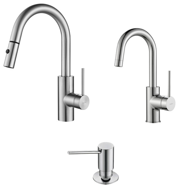 Oletto Pull-Down Kitchen Faucet, Bar/prep Faucet And Soap Dispenser, Chrome.