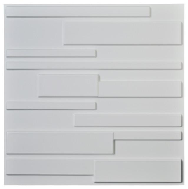 12 Pcs 3D PVC Wall Panel Tiles Decor Modern Wall Brick Decorative White 32 sq ft
