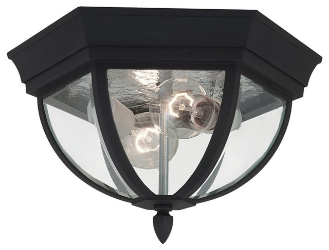 Sea Gull Wynfield Two Light Outdoor Ceiling Flush Mount, Black.