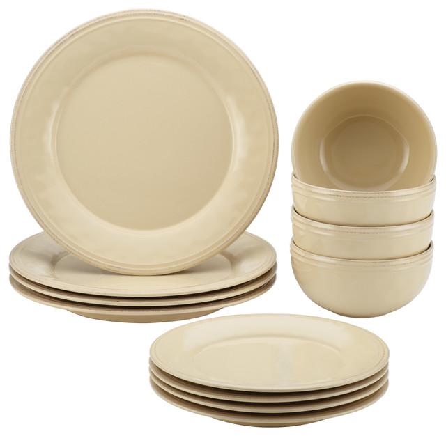 Cucina 12-Piece Stoneware Dinnerware Set Almond Cream  sc 1 st  Houzz & Cucina 12-Piece Stoneware Dinnerware Set - Contemporary - Dinnerware ...