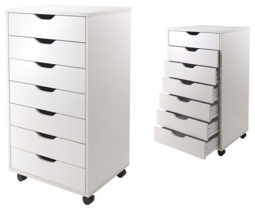 7 Drawer Halifax Cabinet, White Contemporary Filing Cabinets