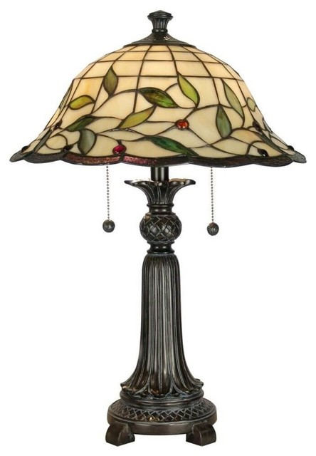 Dale Tiffany 2-Light Donavan Table Lamp, Mica Bronze.