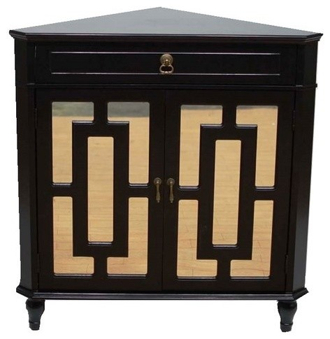 Becker 1 Drawer 2 Door Corner Cabinet With Lattice Mirror