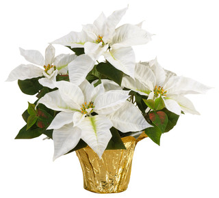 Table Top Silk Poinsettia Plant White Contemporary