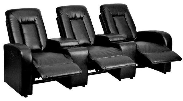 3 Seat Home Theatre Movie Seating Power Recliners Cup Holders