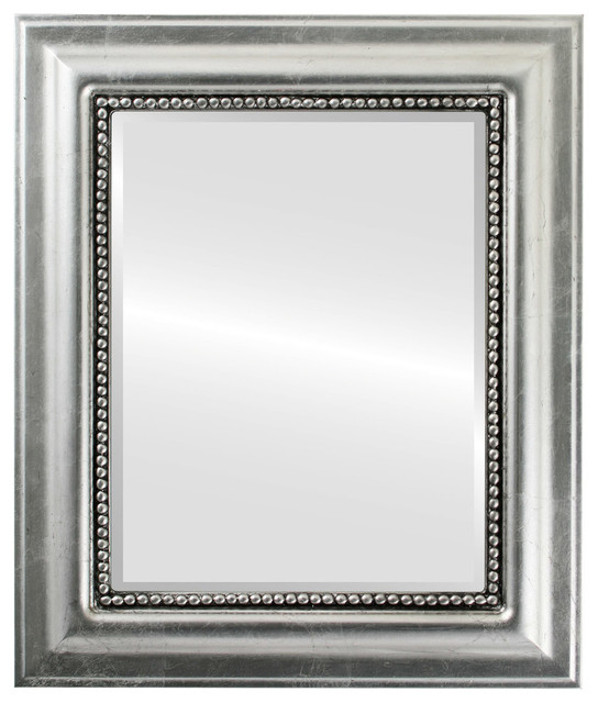 "Heritage Framed Rectangle Mirror In Silver Leaf With Black Antique, 21""x25"". -1"