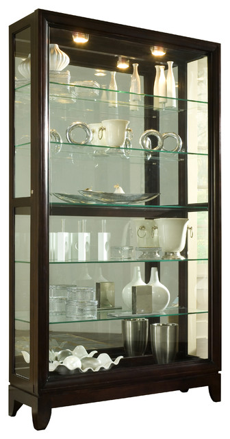 Display Case With Sliding Door, Chocolate Cherry - Transitional - China Cabinets And Hutches ...