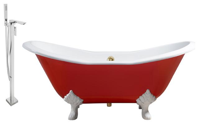 "Streamline 72"" Faucet And Cast Iron Tub Set, Gold Popup Drain, Showerhead H-140."