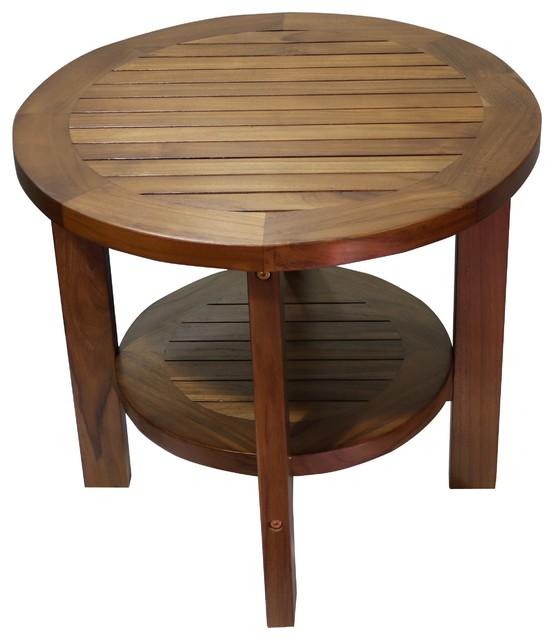 Teak Coffee Table And End Tables: Ala-Teak Indoor/Outdoor Waterproof Side Round Coffee Table