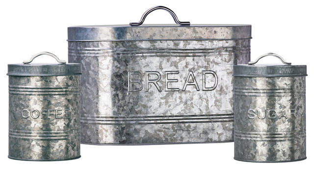 Amici Home Rustic Kitchen Galvanized Metal Canister, Set Of 3 Farmhouse  Kitchen Canisters