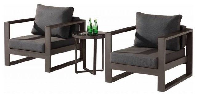 Amber Modern Outdoor Club Chair Set for 2