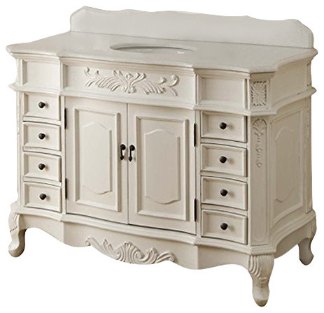 42 morton antique style bathroom cabinet vanity crystal white marble victorian bathroom for Bathroom vanities vintage style