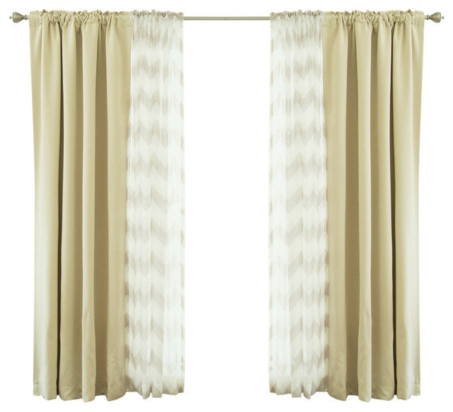 Chevron Sheer And Solid Blackout Curtains, Beige.