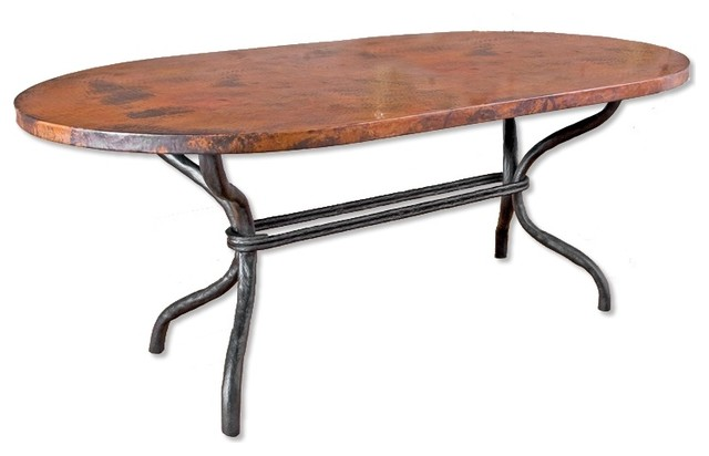 Woodland Dining Table With 42x72 Rectangle Copper Top Traditional Tables