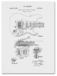 Fender Guitar Tremolo Patent, 1956, White' Canvas Art by Claire ...