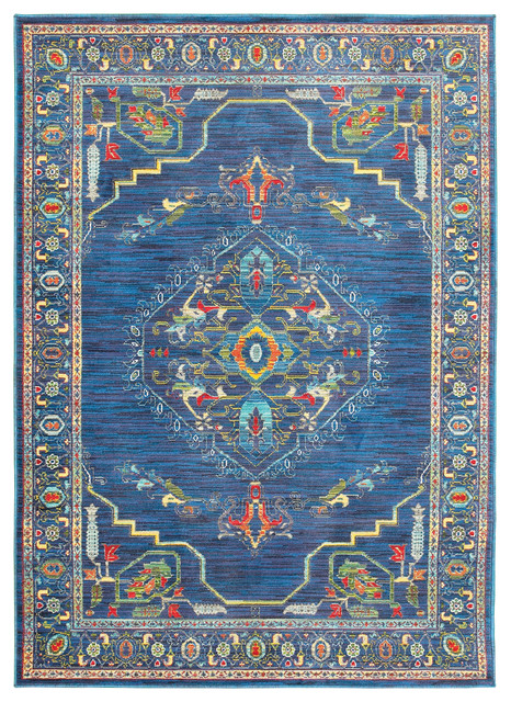 "Jillian Old World Inspired Distressed Blue and Multi Area Rug, 9'10""x12'10"""