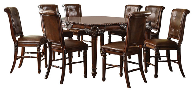 Winfred Elegant Formal Counter Height 9 Piece Dining Table