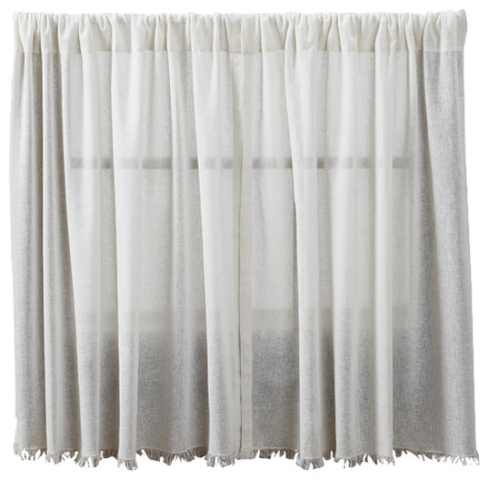 """Tobacco Cloth Antique White L36""""xw36"""" Fringed Tier, Set Of 2."""