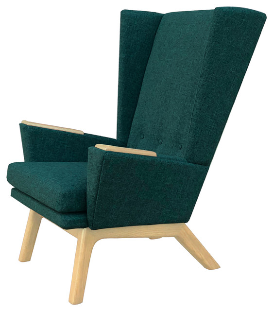 Wondrous Teal Green Upholstered Tall Wingback Mid Century Modern Handcrafted Lounge Chair Dailytribune Chair Design For Home Dailytribuneorg