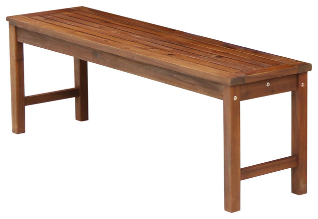 Acacia Wood Patio Bench, Dark Brown.
