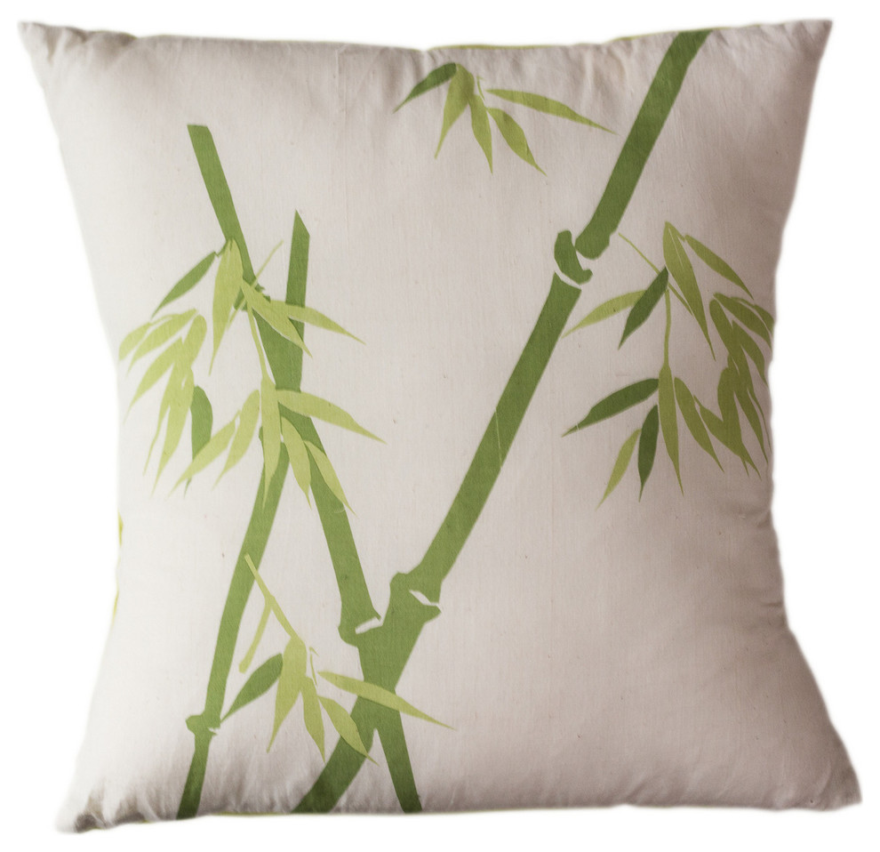 Bamboo Hand Printed Pillow Asian Decorative Pillows By Sustainable Threads