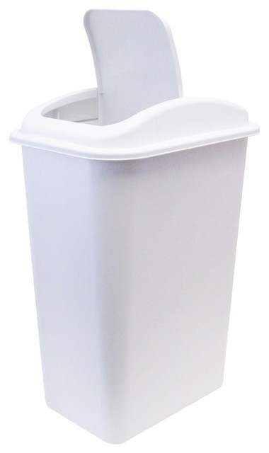 Office Wastebasket With Universal Lid, White Trash Cans