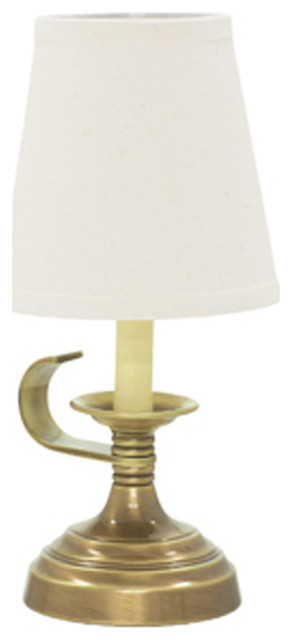 Coach Accent Mini Lamp, Antique Silver With Off-White Linen Hardback.