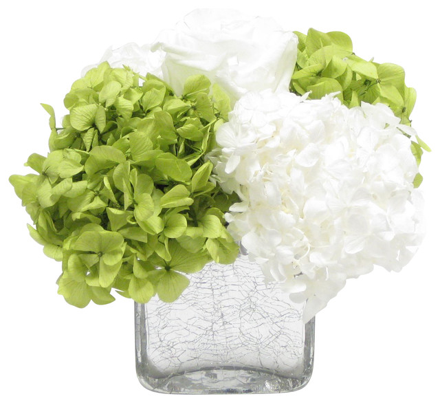 Cracked Glass Cube White Roses Basil And White Hydrangea