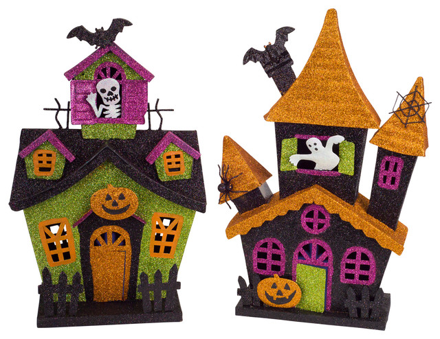 Led Haunted House With 6 Hour Timer, Set Of 2.