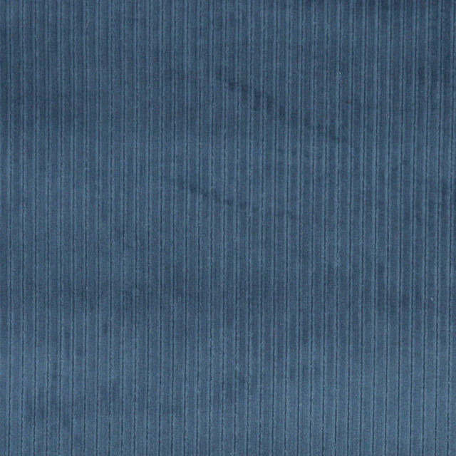 Blue Stripe Corduroy Velvet Upholstery Fabric By The Yard