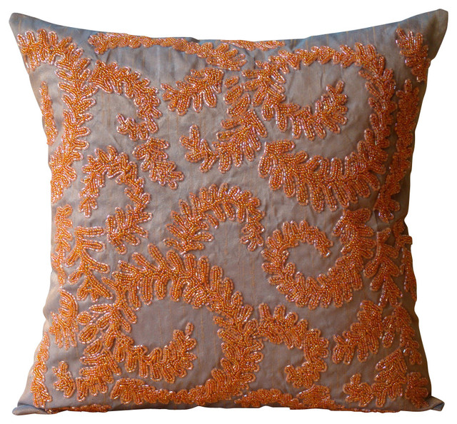 "Orange Beaded Garden Rail 22""x22"" Silk Pillows Cover, Orange Whirlwind."