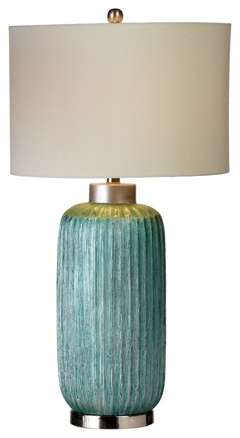 CBK Resin Oversized Ribbed Metallic Aqua Table Lamp 161089
