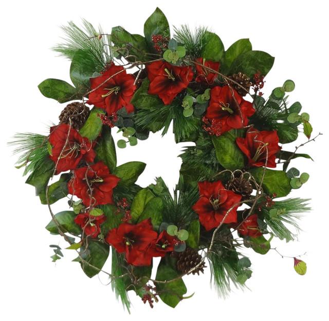 Silk Amaryllis Wreath, Red.