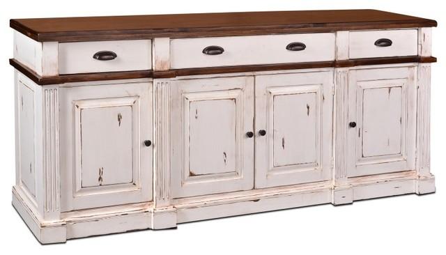 Landon Distressed White Sideboard, Storage Cabinet - Traditional ...