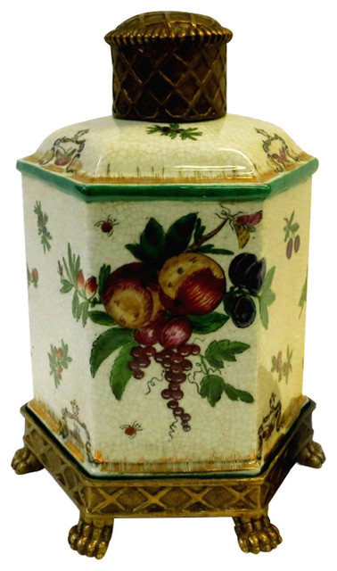 Private potters brass and fruit porcelain hexagon jar 11 reviews houzz - Decorative fruit jars ...