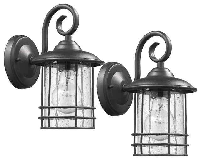 Transitional 1-Light Outdoor Wall Sconces, Set of 2 - Craftsman ...