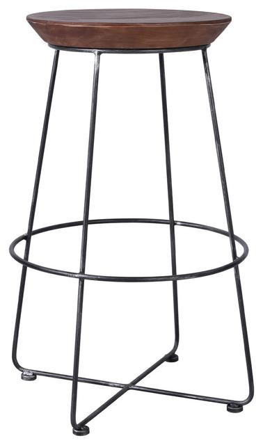 Superb Wels Industrial Metal Barstool Silver Brushed Gray Rustic Brown Inzonedesignstudio Interior Chair Design Inzonedesignstudiocom