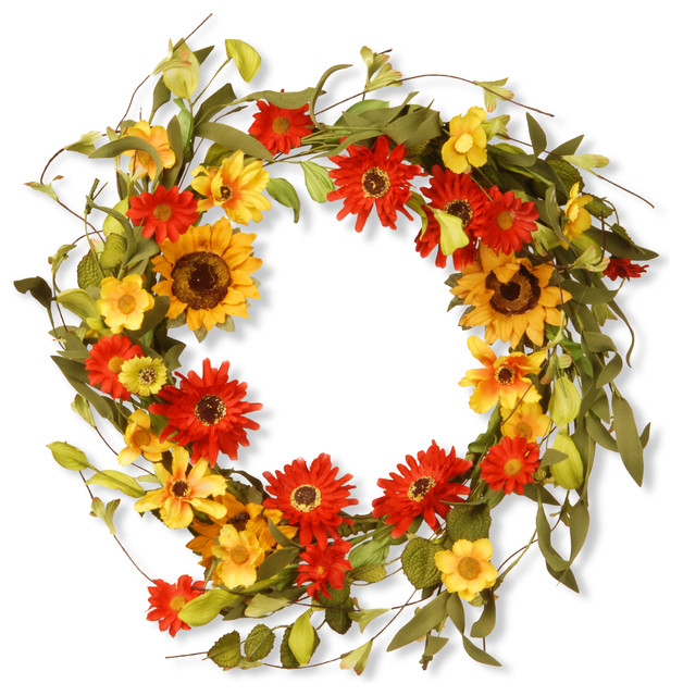 "20 Ways To Decorate With Orange And Yellow: 20"" Floral Wreath Decor, Sunflowers And Orange/Yellow"