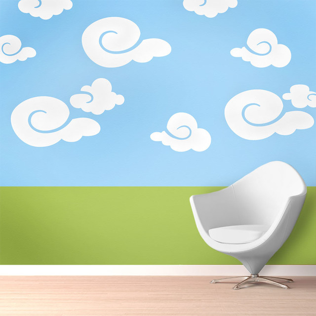 Whimsy Clouds Wall Stencil Kit For Painting   Contemporary   Wall Stencils    By My Wonderful Walls