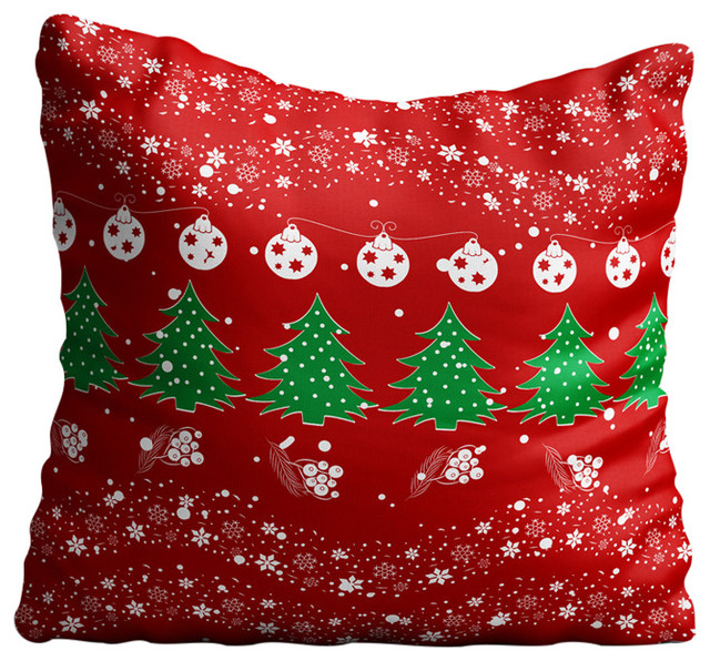 Christmas Pattern Red Throw Pillow Case