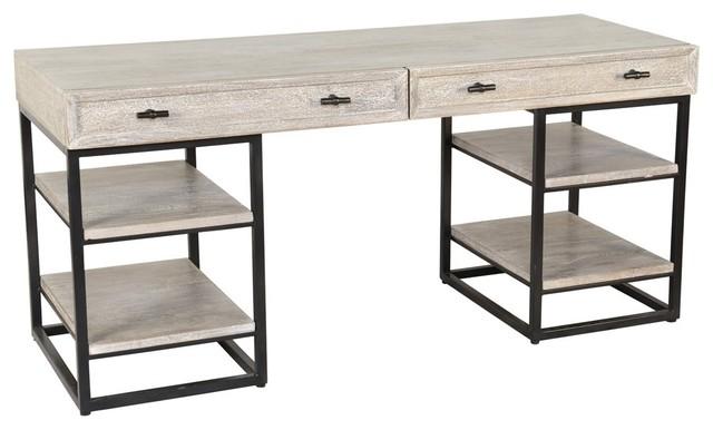 Artemis White Wash Wood Desk.
