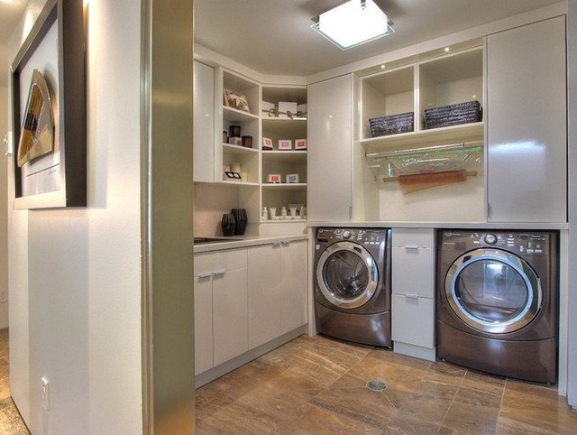 Modern Laundry Rooms modern white laundry - modern - laundry room - vancouver -iron